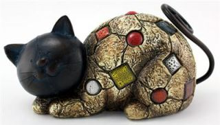 CAT WITH TILES 9.5 in. colorful statue GARDEN DECOR FIGURINE RESIN