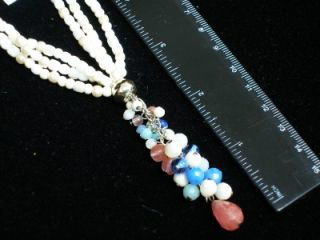 Carolee Multi Strand Freshwater Pearl Crystal Y Necklace Rich Looking