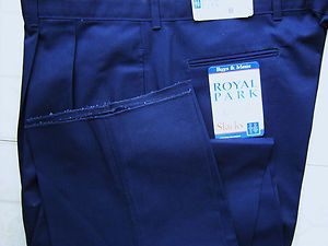 Mens Navy Blue Pants Size 46 x 36 Relaxed Fit Pleated Unhemmed Pants