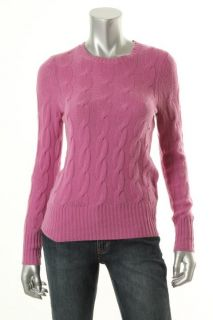 Sutton Studio New Pink Cashmere Cable Knit Ribbed Trim Pullover