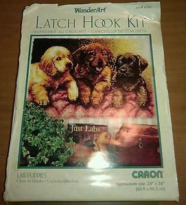 Vintage Caron Wonder Art 4386 LATCH HOOK KIT 24 x 34 LAB PUPPIES