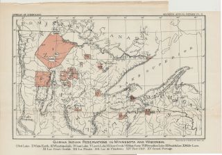 1891 Map Ojibwa CHIPPEWA Indian Reservations Minnesota Wisconsin