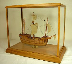 Sailing SHIP in Glass Case Portugese Carrack Nao Square Rigged