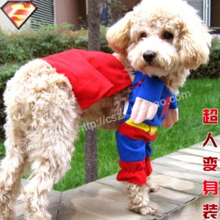 Pet Dog Cat Cloth Super Man Costume Any Size Super Cool