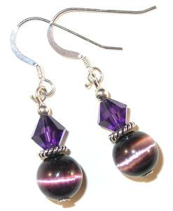 Swarovski Crystal Elements Catseye Sterling Silver Earrings Amethyst