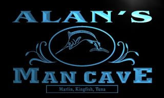 X0091 TM Alans Man Cave Fishing Custom Personalized Name Neon Sign