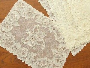 Set 8 Antique Vtg ALENCON LACE PLACEMATS Florals Paisley Net 11x17
