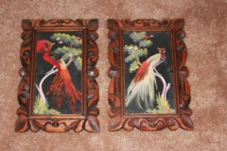 Vintage Mexican House of Oppenheim Feather Art Carved Frame Birds