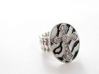 Zebra Cross Oval Crystal Stretch Ring Fashion Jewelry