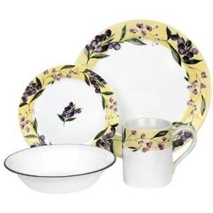 16 PC Corelle Floral Grape Dinnerware Set Tuscan Napa