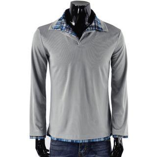 2012 Mens Casual Slim Polo Check Collar Shirt T Shirts Long Sleeve 3