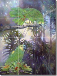 Macon Tropical Birds Parrots Art Ceramic Tile Mural