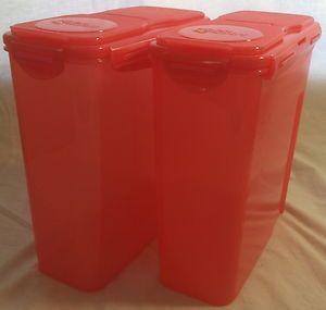 Lock Lock 10 Piece Flip Top Cereal Storage Bin Container Set Red Lids