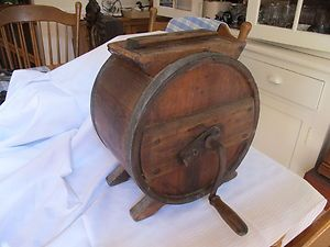 Primitive Wood Butter Barrel Churn Crank RCW Richmond Cedar Works