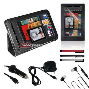 Kindle Fire Black Case Car Wall Charger Stylus Earphone Film