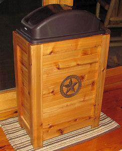 Kitchen Trash Bin Garbage Can 30 Gal Cabin Western Decor Cedar