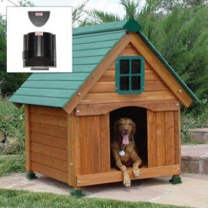 OUTDOOR WOODEN CEDAR COTTAGE DOG HOUSE + 150w FURNACE HEATER