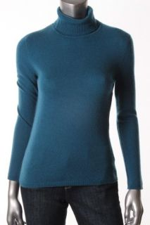 Charter Club New Blue Cashmere Ribbed Long Sleeve Turtleneck Sweater L