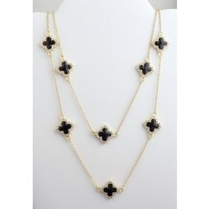 Designer Inspired Gold Chain 36 Clover CZ Necklace Fashion Jewelry