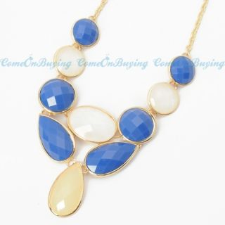 Fashion Golden Chain Water Drop Oval White Blue Resin Beads Pendant