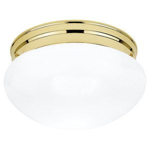 5328 02 Polished Brass Functional Flushmount Ceiling Fixture F