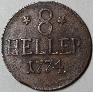 1774 Hesse Cassel Large Copper 8 Heller US Colonial Money RARE German