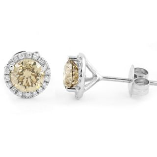 FANCY CHAMPAGNE CHOCOLATE BROWN DIAMOND STUD EARRINGS 18K WHITE GOLD