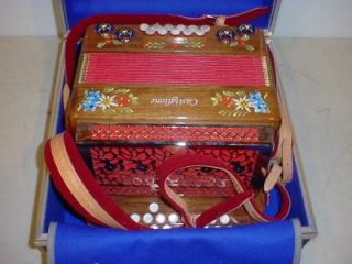 Castiglione Folklore Model Walnut Button Box Accordion with Case Strap