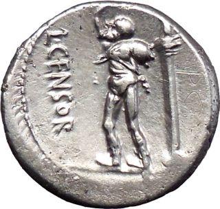 Roman Republic Censorinus 82BC RARE Silver Ancient Coin Apollo Satyr