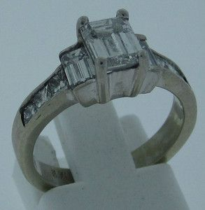 White Gold Diamond Ring 79 Ct Emerald Cut Center Diamond with 8 Accent