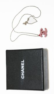 Authentic Chanel 08 Red Silver Studded 3D CC Charm Necklace w Box