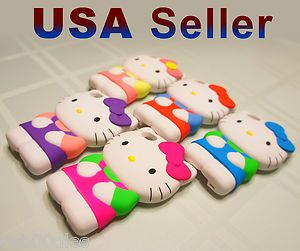 Hello Kitty Case Cover Skin For iPhone 4 4S 3D Cute Soft Silicone
