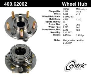 Centric 400 62002 Front Wheel Bearing
