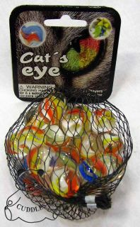 Cats Eye Mega Marble Glass Bag Clear Blue White Orange 1 Shooter Game