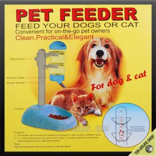 Feeder Dish Bowl Stand Bottle Blue Pet Cat Dog Mice Rabbit New