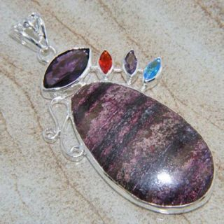 FASHION GEMSTONE JEWELRY CHAROITE AMETHYST GEMSTONE PENDANT 3 1/8