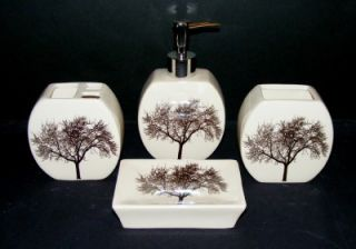 winter tree 4pc ceramic bath set soap dish pump tumbler toothbrush