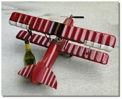 Big Old Sty Wood Hanging Airplane Bi Winged Red Baron Plane Rubber