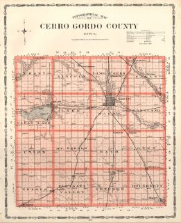 CERRO GORDO County Iowa Map Authentic 1904 (Dated) w/Towns, TWPs, RRs