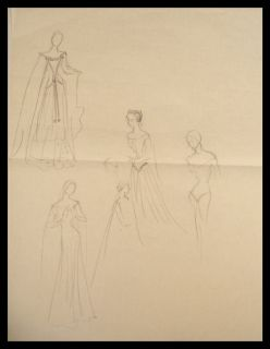 Edith Head Original 1954 Costume Production Sketch 2 The Court Jester
