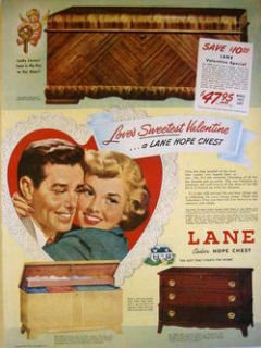 1949 LANE CEDAR HOPE CHEST   LOVES SWEETEST VALENTINE   THREE MODELS