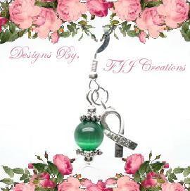 Green Ribbon Awareness Jewelry Dangle Bead Earrings Support 1 Pair Set