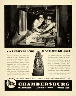 1943 Ad Chambersburg Engineering WWII War Producion Arillery Welding