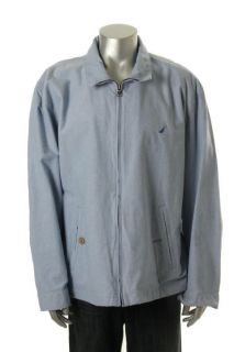 Nautica New Oxford Chambray Bomber Blue Pattern Full Zip Funnel Neck