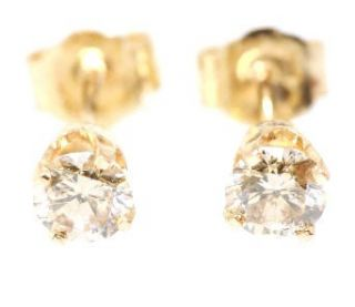 Genuine Champagne Diamond 14K 14KT Solid Yellow Gold Earrings Studs