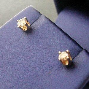 Estate 14k Yellow Gold Champagne Diamond Stud Earrings