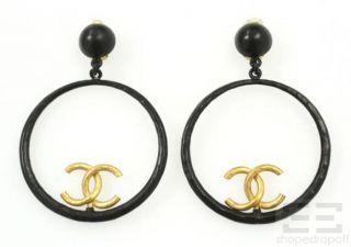 chanel black gold hammered logo hoop earrings 93p