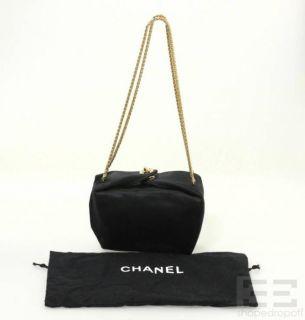 Chanel Black Satin 22K Gold Plated Folded Chain Strap Handbag 99P New