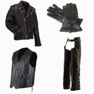 Combo Motorcycle Leather Jacket Vest Chaps Gloves New