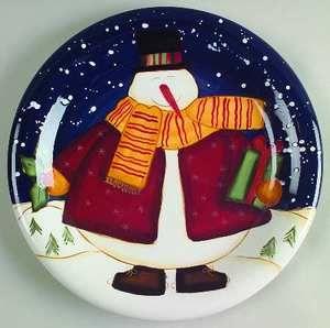 Certified International Top Hat Snowman Dinner Plate 4